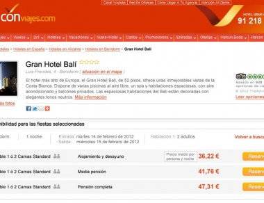 Halcon Viajes – Ficha hotel